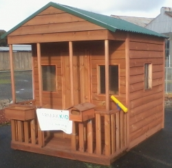 Cubby House Colours -  Cottage Green Roof with Dark Stain