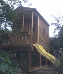 Cubby House Colours -  Woodland Grey Roof, Stained and Elevated