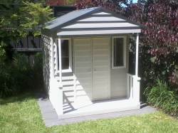 Cubby House Colours -  Woodland Grey Roof, custom paint colours in weatherboards.