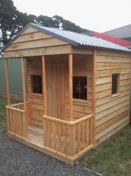 Cubby House Colours -  Woodland Grey Roof and finished in exterior oil.
